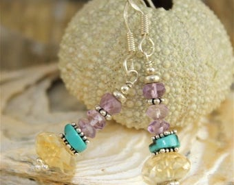Earrings Amethyst from Brazil, turquoise, citrine and silver
