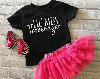 lil' miss threenager - cute toddler shirt - three year old shirt - third birthday shirt - toddler girl shirt