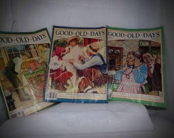 Vintage Advertising Magazines .  Good old days Magazines . Old stories Set of  3 . Old magazine Photos . Happy Days Gone By Ilustrations .