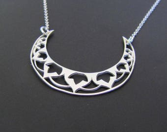 Moon Mandala Necklace, Ethnic Necklace, Sterling Silver Necklace, Pendant Necklace, Jewelry, Gift for her