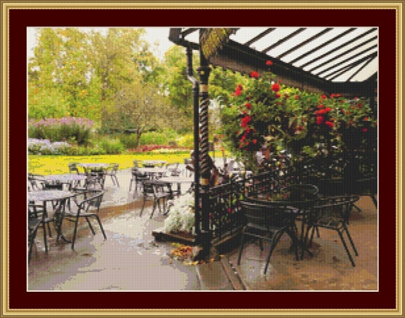 Outside Cafe In Park Cross Stitch Pattern /Digital PDF Files /Instant downloadable