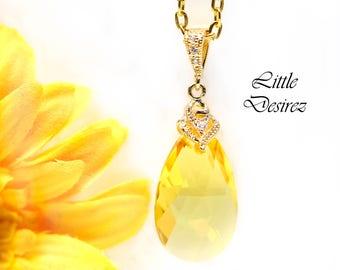 Yellow Necklace Swarovski Crystal Light Topaz Pendant Necklace Yellow Bridesmaids Gift Lemon Zest Canary Yellow November Birthstone LT32N