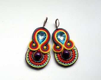 Earrings-soutache earrings-boho-tassel-soutache-ethnic-Vacation