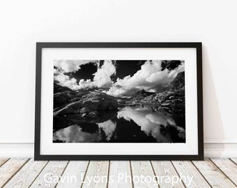 Alpine Lake and Clouds  Print, Printable Wall Art, Poster Print,Black and White Photography, Winter Photography, Living Room Wall Decor