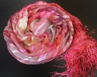 Luxury silk scarf,hand dyed,accessories for women,silk scarves and wraps,one of a kind,gifts for her,sexy silk pareo,red,pink,Christmas