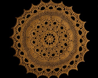 Handmade crochet doily, stylish interior decor in cinamon-brown color