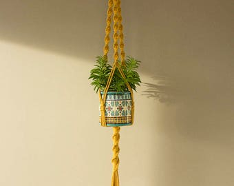 Mustard color Macrame plant hanger for wide or high pot