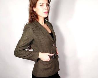 25% OFF Vintage Weinberg Paris Blazer / French Blazer / Olive Green Jacket / Wool Coat / Made in France