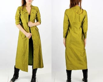 SALE Vintage Trench Coat / Shiny Trench Coat / Green Coat / Long Coat / Spring Coat / Grunge Coat / 90s Coat / Medium Trench Coat