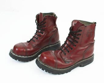 SALE Burgundy Boots / STEEL Boots / Goth Boots / Leather Boots / Woman Boots / Punk Boots / Rock Boots / Lace Up Boots / 8 Eyelet Boots