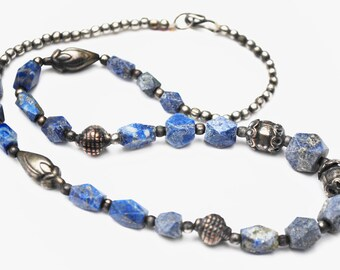 Sodalite Silver bead necklace - blue white gemstone - silver brass copper beads - Boho India style 19 inches