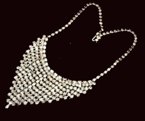Rhinestone Bib Necklace - V Shape-clear rhinestone crystals - Silvertone metal Statement necklace - Mid Century - Wedding  Prom