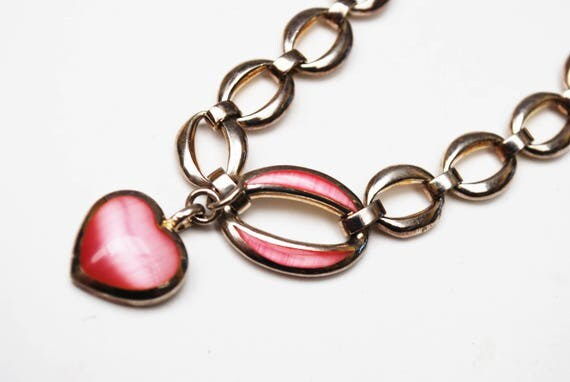 Sterling Heart charm Bracelet - Pink glass and silver charm - Heavy silver  Link chain - Pink Enamel -