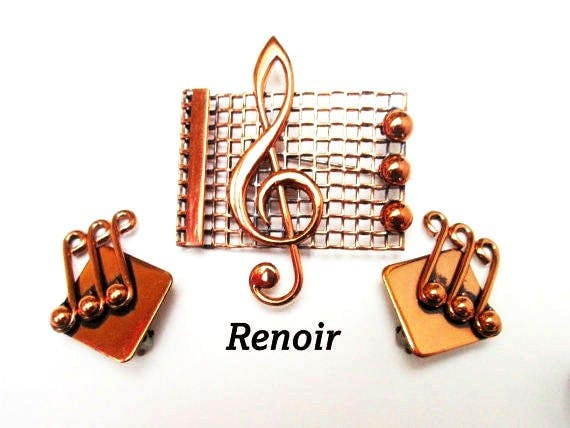 Copper Treble Brooch and earring set - Renoir signed  - Mid century - Music note pin and earrings