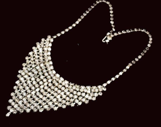 Rhinestone Bib Necklace - V Shape-clear rhinestone crystals - Silvertone metal Statement necklace - Mid Century - Wedding Prom