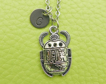 Egyptian Scarab Initial Necklace Monogram Stainless steel chain
