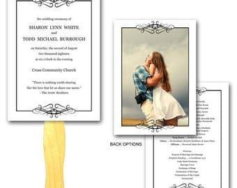 Summer Sale Elegant Loops Wedding Ceremony Program Fan - Set Printed, Affordable Hand Fans, Elegant, Programs, Paper Fan, Paddle Fan