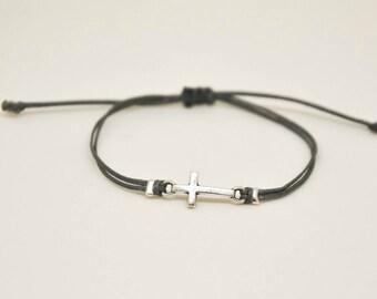 Mother's day gift, cross bracelet, women, silver cross charm, gift for mom, christian catholic jewelry, gray, adjustable sliding knot