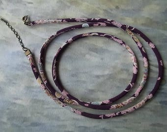 Chirimen cord jewelry / fabric cord long necklace Purple / Japanese kimono pattern.