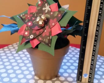"Handmade Poinsettias flower arrangement in a hand painted gold 3""  flower pot."