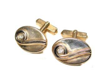 Vintage Swank Cufflinks, Gold Tone Cufflinks, Gold Oval Cuff Links, White Rhinestone Cufflinks, Classic Ratpack 60s Cufflinks