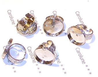 5 supports of ring 21 mm silver plated hammered ring for charm