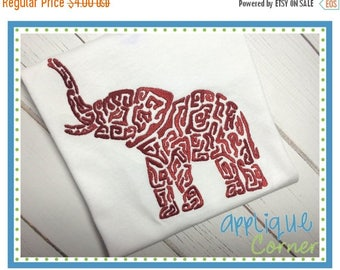 50% Off INSTANT DOWNLOAD 2118 Elephant Trunk Up Swirl Embroidery Design in digital format for embroidery machine by Applique Corner