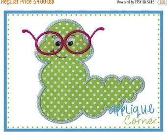 40% OFF INSTANT DOWNLOAD Bookworm with Glasses Vinyl applique design in digital format for embroidery machine by Applique Corner