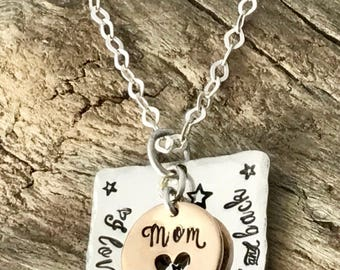 I love you to the moon and back   Hand stamped   Sterling silver   Personalize gifts   Gifts for mom   Mothers necklace