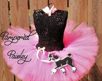 25% off SALE 50's Poodle Skirt, Tutu, Pink Tutu Poodle, Sock Hop Sweetie, Blue Tutu, Poodle Applique for Girls, Babies, Tweens