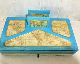 Ocean Blue Men's Valet and Jewelry Box, Vintage Maps Men's Desk Accessories, Aged Maps Jewelry Box, Coastal Chic Desk Top Home Office Decor