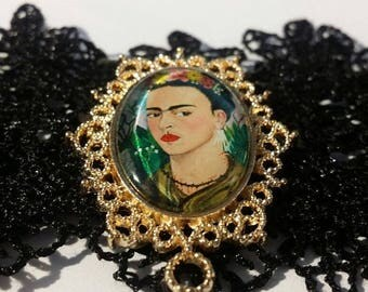 1 FRIDA KAHLO Black Lace Choker Necklace