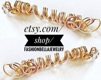 Locs jewelry gold, silver and pink metallic