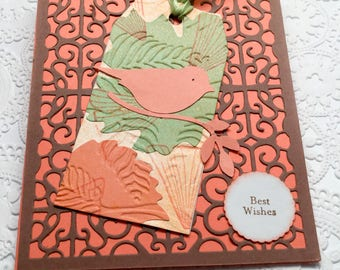 Variety of handmade cards - set of 5 cards - lighthouse - bird - flowers - asters - stained glass - vellum - birthday cards - blank cards