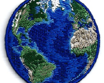 Earth - World - Planet - Earth Day - Embroidered Iron On Patch
