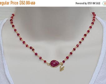 ON SALE Personalized Ruby necklace, Vermeil Gold necklace, Sterling Silver necklace, ruby wire wrapped necklace, initial necklace, July Birt