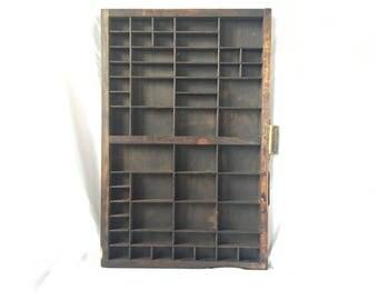 Antique Typeset Drawer, John Haddon & Co London Printer's Tray, Wood Shadow Box Wall Display, Divided Wooden Drawer, Vintage Retro Hamilton