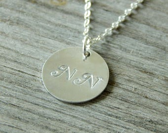 Silver personalized necklace Two monograms necklace, Delicate initial necklace, Silver necklace, Mothers necklace, Anniversary gift