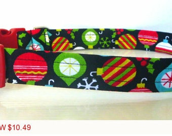 "Sale - 50% Off Christmas Ornament Dog Collar - ""Cheer"" - No Extra Charge for Colored Buckles"