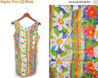 ON SALE 80s Jam's World Sleeveless Dress Patterned Floral Fun 11 Medium