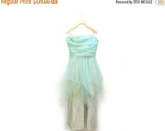 ON SALE 50s Tulle Prom Dress Strapless Layered Skirt Mint Green Homecoming Womens 8 Medium