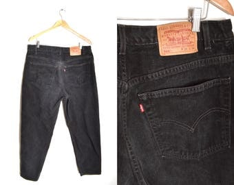 80s Levi's High Waisted Black Tapered Straight Leg Jeans Mens 36x34 Big Tall