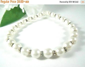 White Pearl Bracelet & Pearl Necklace Matching Jewelry Set, Prom Jewelry, Wedding Jewelry, White Bracelet Teen Jewelry, Womens Jewelry