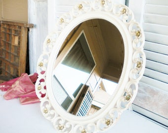Vintage Syroco Mirror/Vanity Mirror Gold And White/Large Decorative Mirror/Hollywood Glam Vanity Mirror/Vintage Wedding/Shabby Chic Mirror