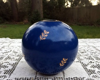 "17% OFF SALE Nittsjo Swedish Vase/Mid Century Pottery/Cobalt Blue & Gold/Jerk Werkmaster/4.5"" Tall /Scandinavian Pottery/Swedish Art Pottery"
