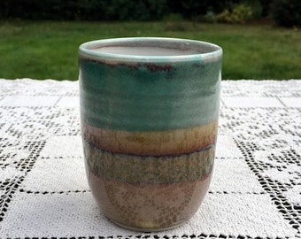 """Save 15% OFF Handmade Tumbler/Ceramic Art Pottery/Turquoise & Brown/ 4"""" Hand Thrown Cup/Minimalist Tumbler/Studio Pottery Cup/Signed Art Pot"""