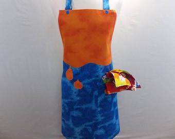 Blue And Orange Paint Apron