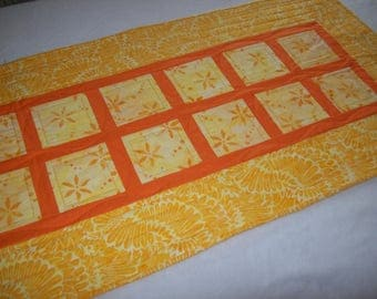 Quilted Cotton Table Runner, Yellow Orange Table Runner