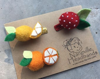 Fruit felt clipset, 3 clips