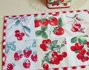 vintage fruit patchwork table topper